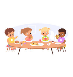 children eat together happy kids sitting common vector image