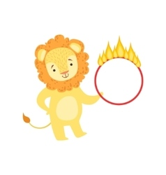 Circus Trained Lion Animal Artist Performing Stunt vector