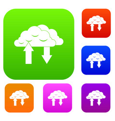 Clouds with arrows set collection vector