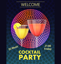 cocktail party invitation card vector image vector image