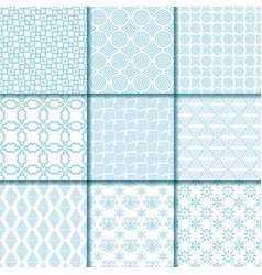 Collection of blue seamless patterns vector