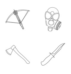 Crossbow gas mask ax combat knife weapons set vector