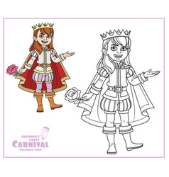 cute boy in a prince suit color and outlined vector image