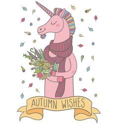 cute cartoon unicorn vector image