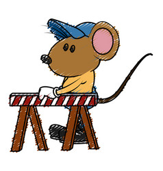 Cute mouse worker cartoon vector