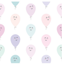 Cute seamless pattern with kawaii balloons for vector