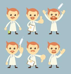 doctor character set cartoon vector image