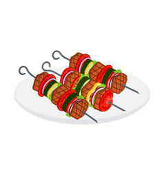 doner kebab shashlik in cartoon flat style vector image