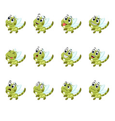 Dragonfly with different facial expressions vector