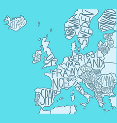 Drawn map europe with country names european vector