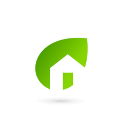 Eco leaves house logo icon design template vector