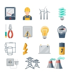 Electricity and power industry icons flat vector image