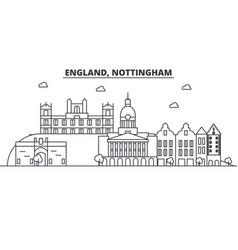 England nottingham architecture line skyline vector