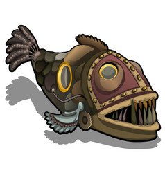 Fangtooth fish in the style of steam punk isolated vector