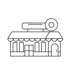 fast food cafe building thin line icon concept vector image