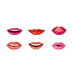 female lips set mouth with different lipstick vector image