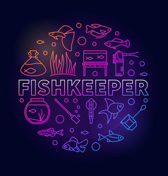 Fishkeeper colored round in vector