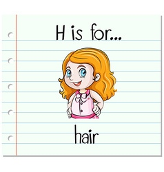 Flashcard letter h is for hair vector