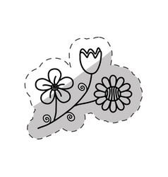 Flowers decoration flora cut line vector