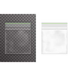 Food empty plastic packaging bag icon set vector