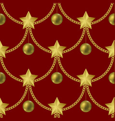 golden chains stars and balls new year seamless vector image