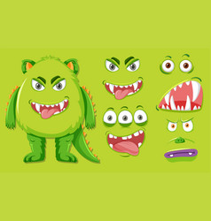 Green monster with different facial expression vector