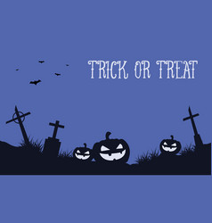 Halloween background with pumpkin in grave vector