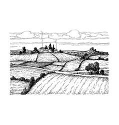 Hand drawn ink sketch rural landscape vector