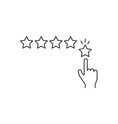hand giving five star rating line icon on white vector image