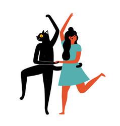 happy dancing woman with black cat vector image