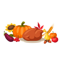 happy thanksgiving day background with holiday vector image
