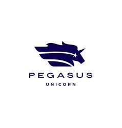 horse pegasus unicorn star wing logo icon vector image