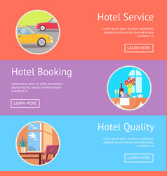 Hotel service booking and quality visualization vector