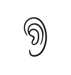 Human ear sketch icon vector