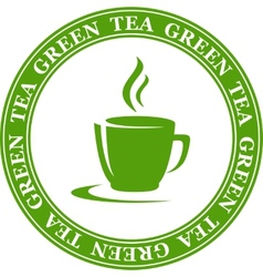 icon with green tea cup vector image