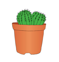 ink style hand drawn sketch cactus in pot vector image