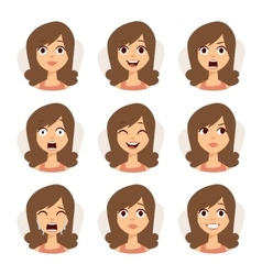 Isolated set of woman avatar expressions face vector image