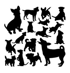 jack russell dog animal silhouettes vector image