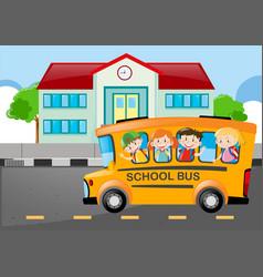 Kids riding on school bus to school vector