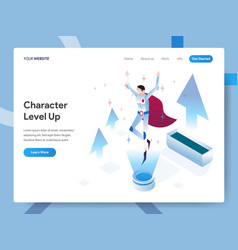 landing page template character level up vector image