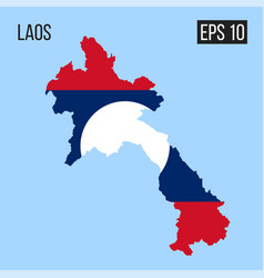 Laos map border with flag eps10 vector