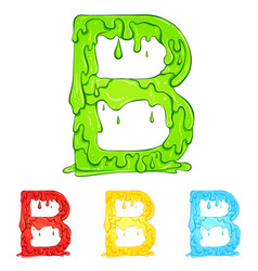 Letter b with flow drops colors vector