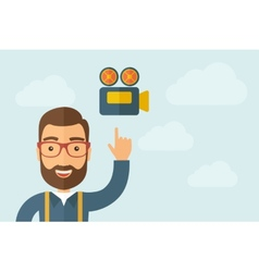 Man pointing the video camera ivon vector