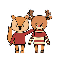 Merry christmas celebration cute squirrel and deer vector