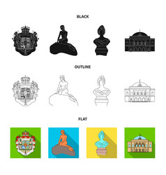National symbol drawing and other web icon in vector