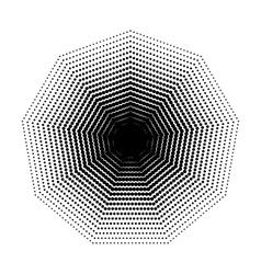 Nonagon halftone geometric shapes Dot vector