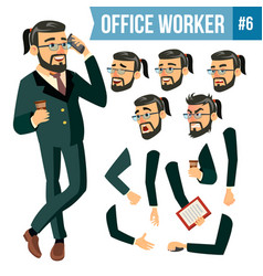 Office worker face emotions various vector