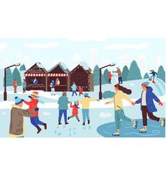 people in winter park happy families seasonal vector image