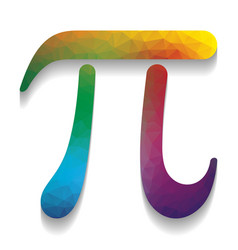 Pi greek letter sign colorful icon with vector