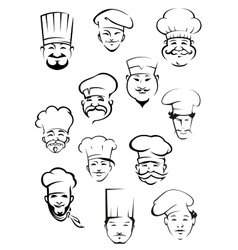 Professional chefs in toques from around the world vector